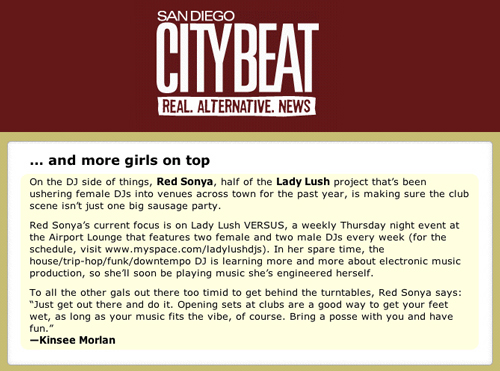 Red Sonya & Lady Lush mentioned in City Beat
